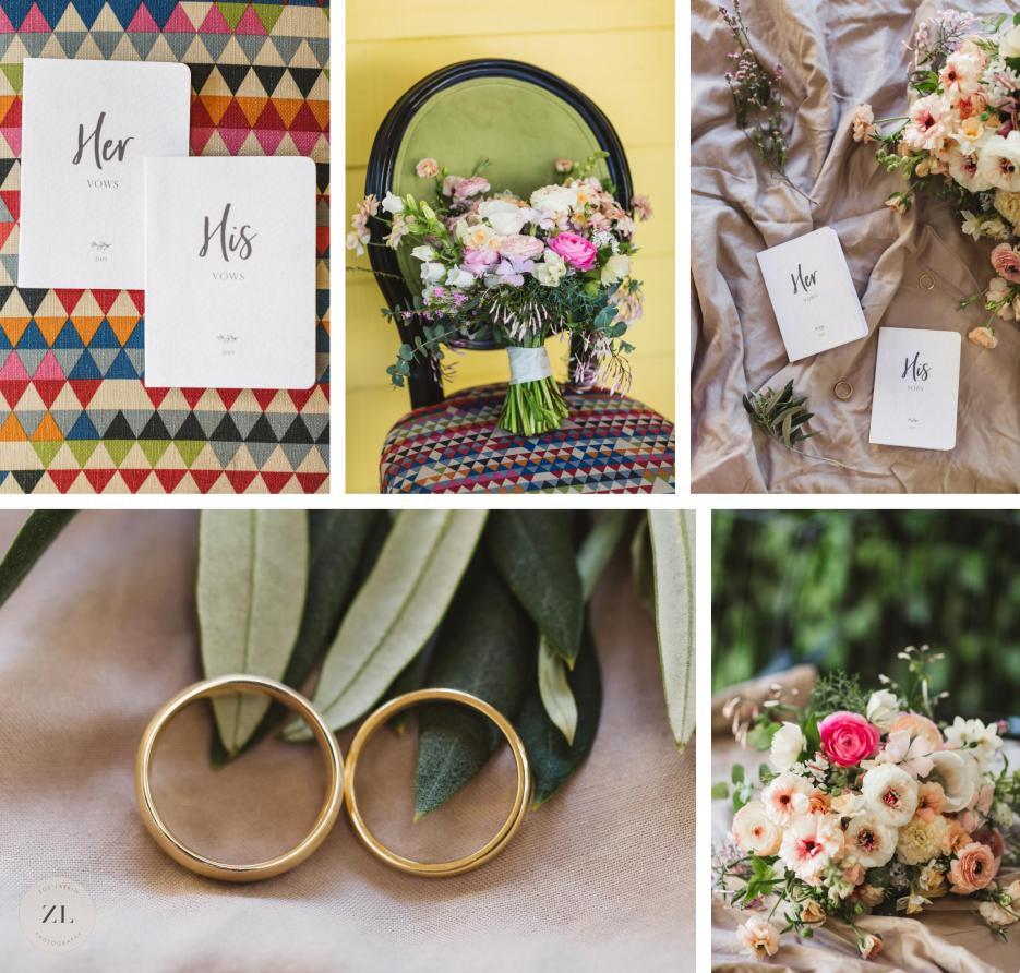 wedding details collage at vineyard wedding
