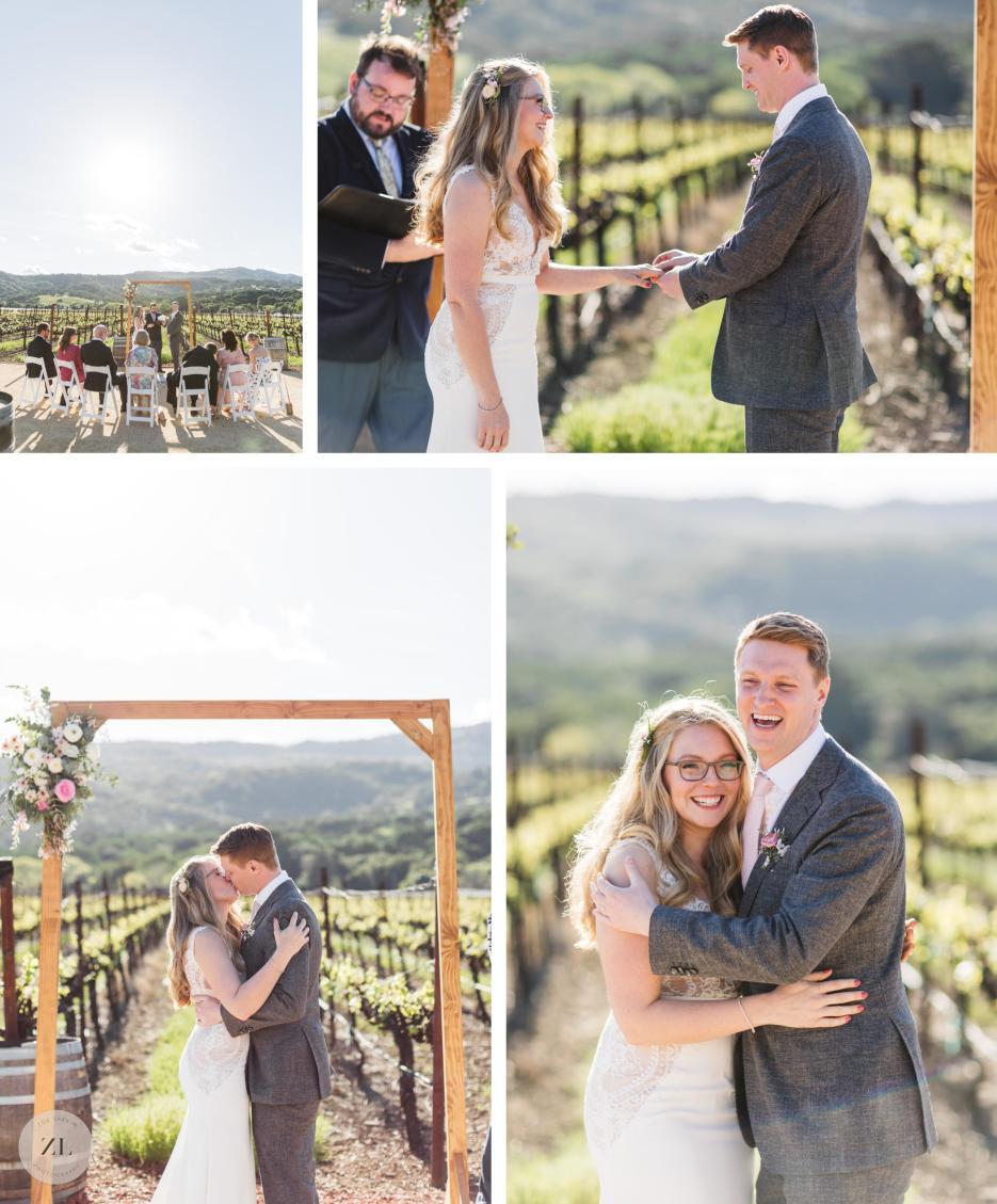 vineyard wedding ceremony at vezer fairfield solano