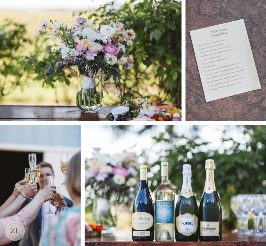 wine, flowers and toasts at winery wedding in solano county