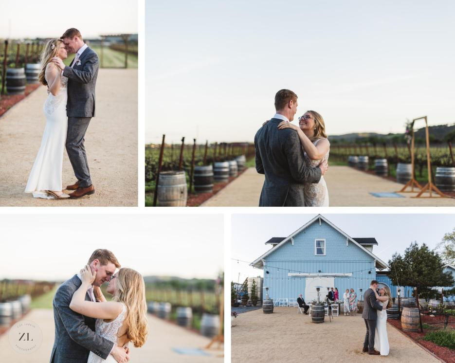 couple dancing at outdoor wedding reception at intimate wedding in solano county vineyard