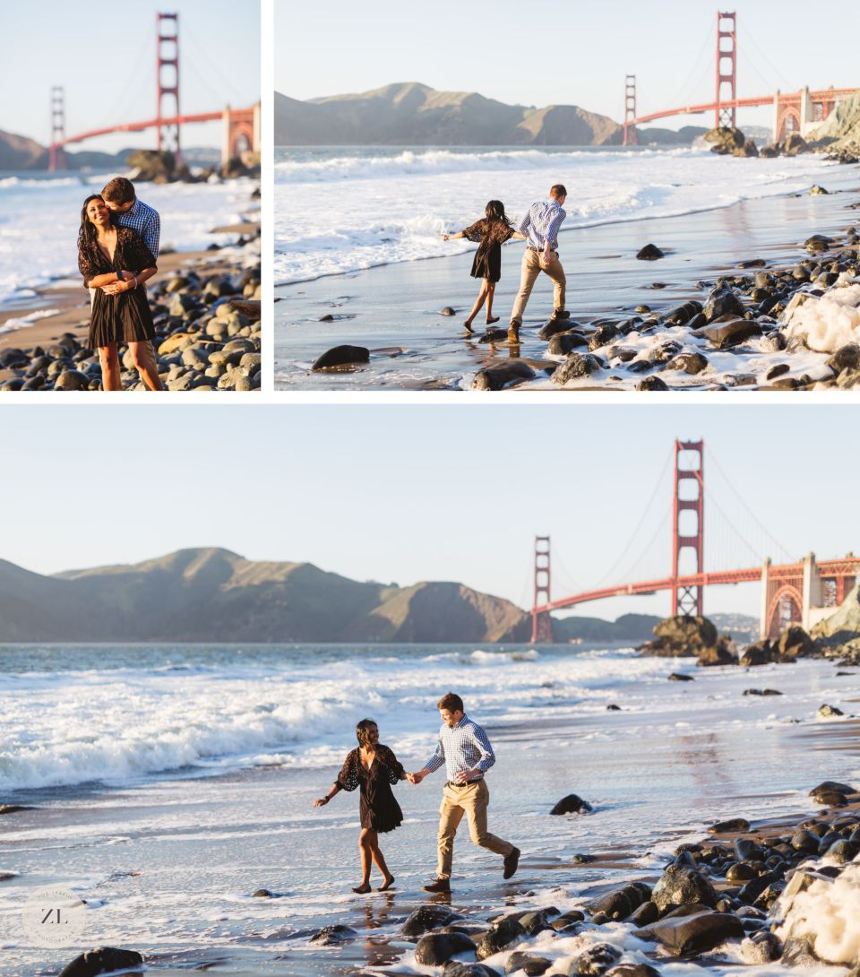 couple running along marshall beach in san francisco with golden gate bridge in background