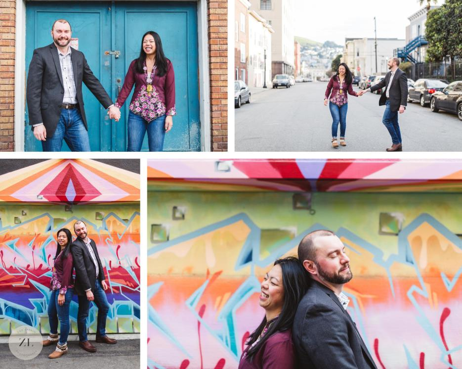 pastel murals in san francisco's mission district engagement photos