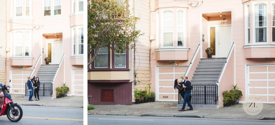 san francisco engagement photography with pink building mission district