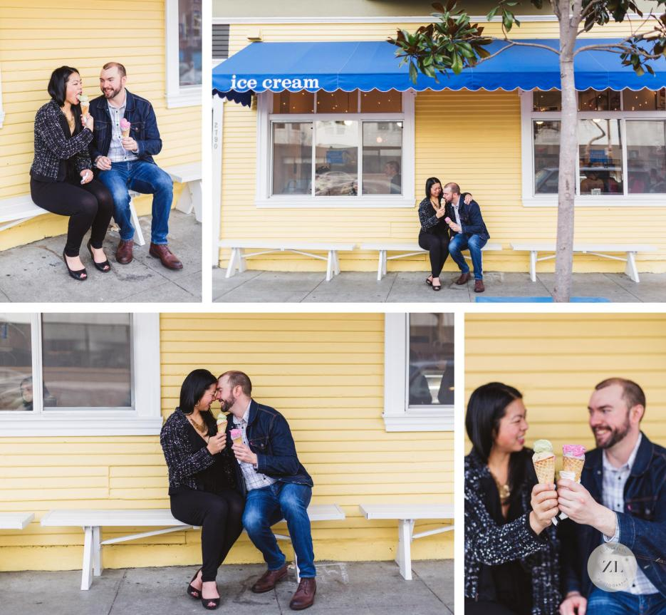 cute ice cream engagement photos at harrison humphry slocombe