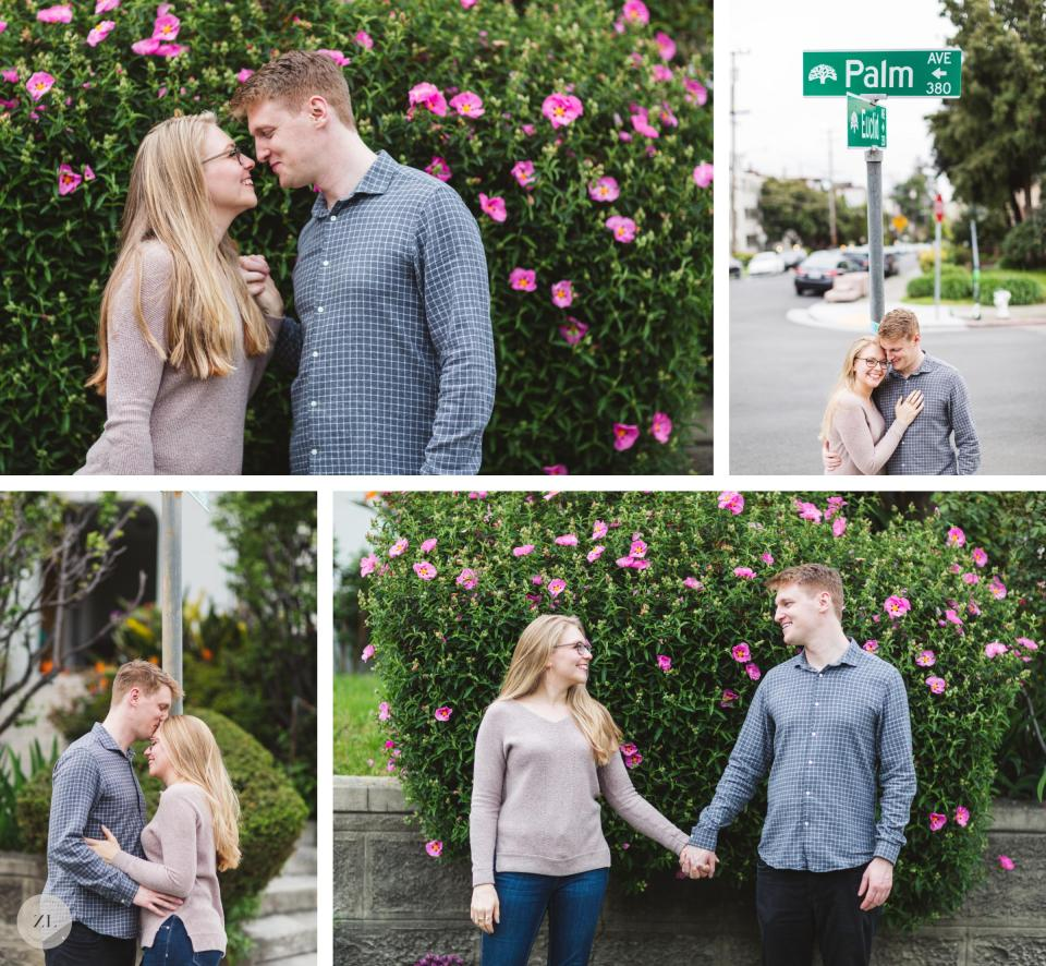 oakland neighborhood lake merritt engagement photos near palm ave sign