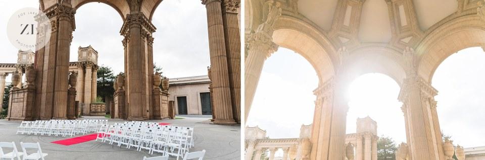 wedding ceremony set up at palace of fine arts wedding san francisco