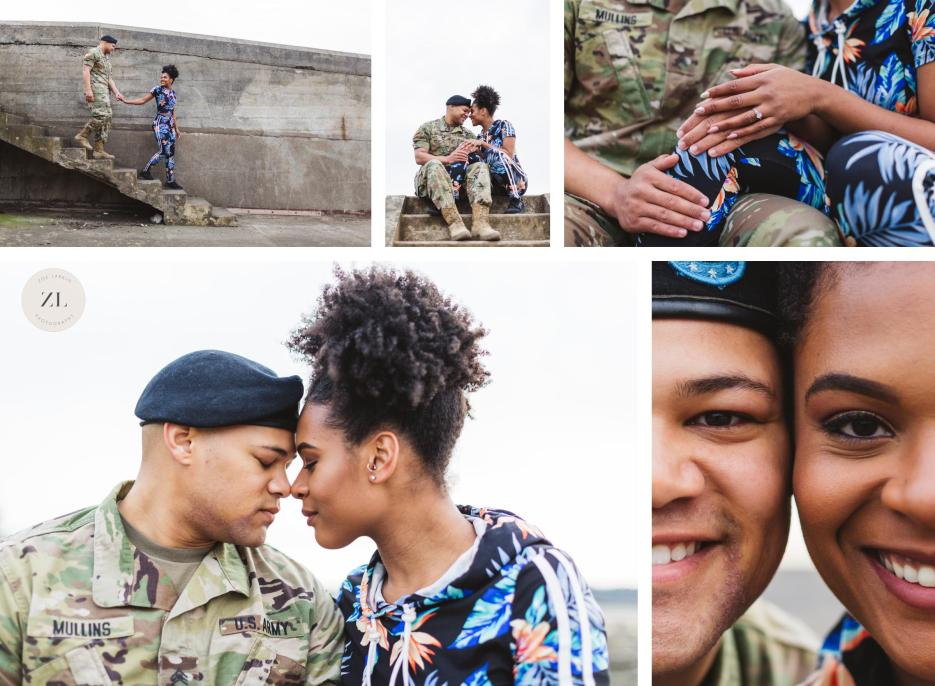 collage of close ups of industrial military battery godfrey engagement photoshoot