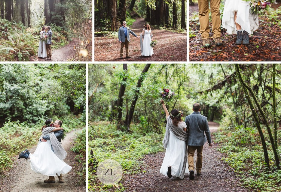 couple celebrating getting married at forest of nicene marks state park santa cruz