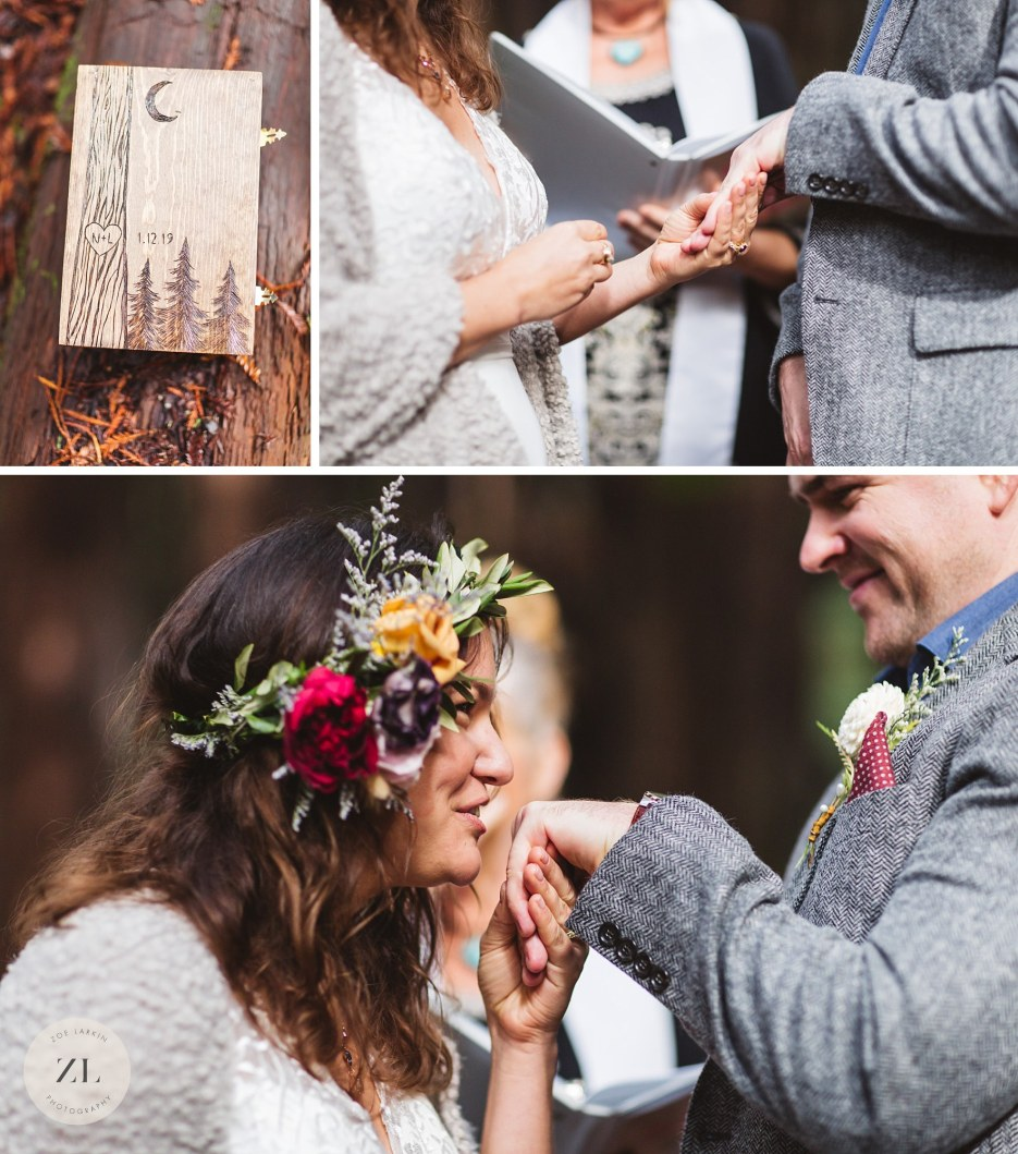 ring exchange in redwood forest wedding