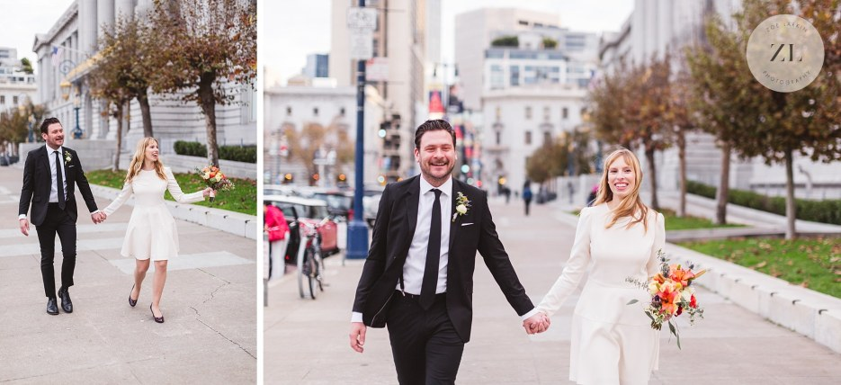 walking down the street after city hall wedding