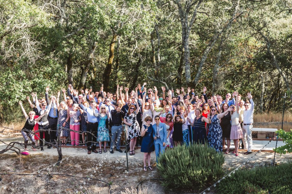 lgbtq wedding at home - large group photo of all guests