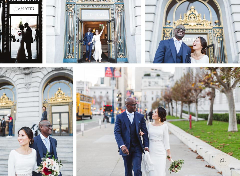 newlyweds leaving city hall after wedding and walking down the street