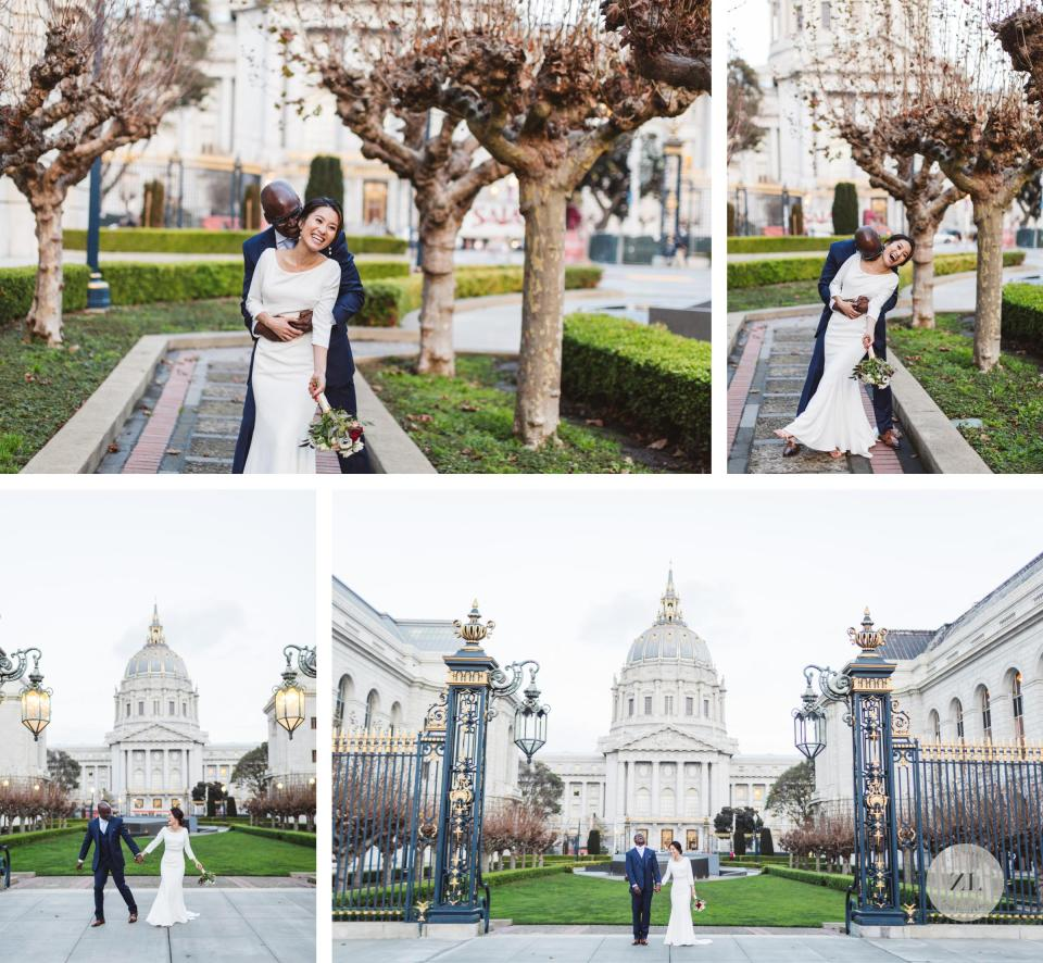 wedding day portraits at the back of city hall van ness side