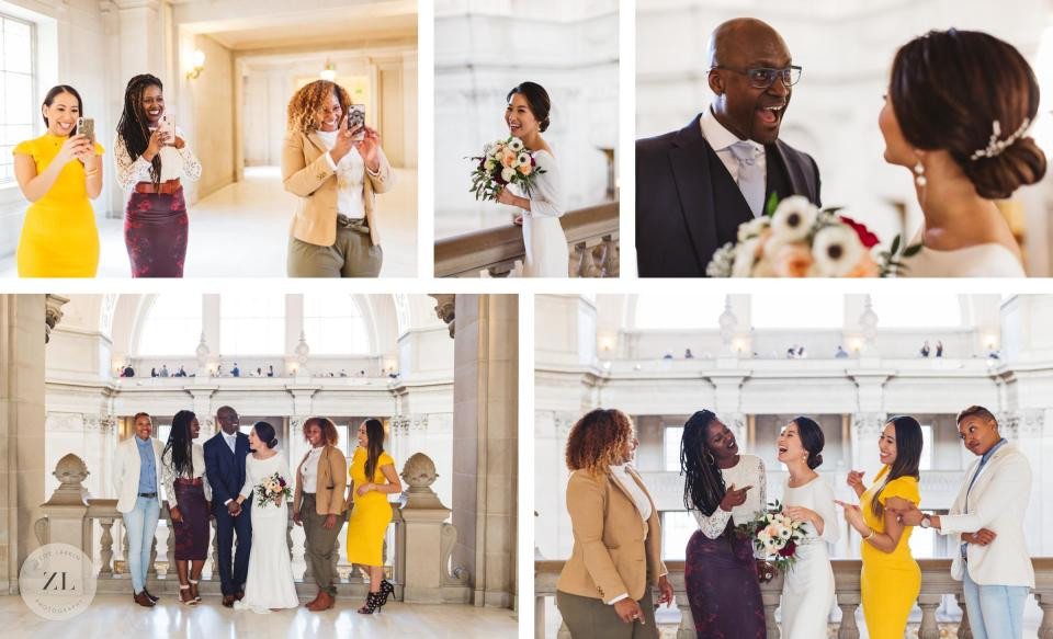 posed formal guest portrait session at city hall wedding 3rd floor