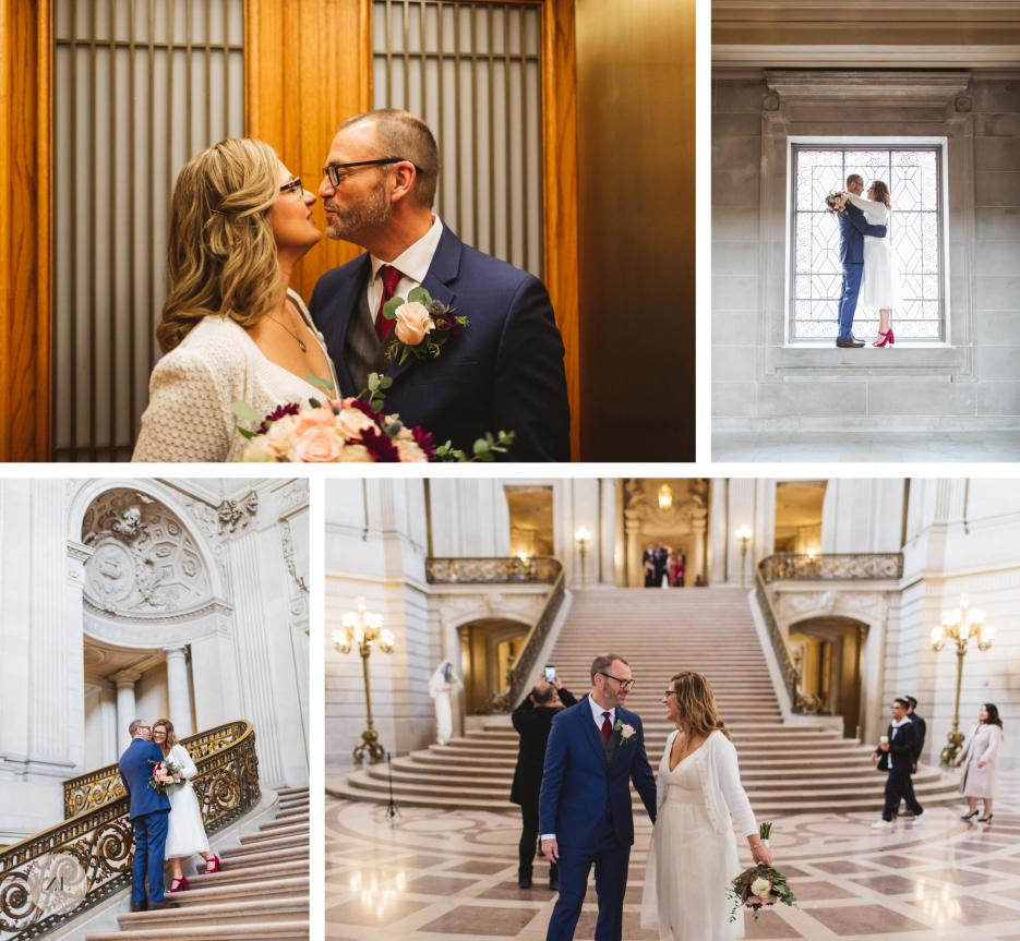 wedding couple in elevator and grand staircase at san francisco city hall wedding