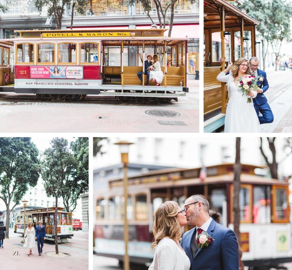 elopement couple photos in front of cable cars trolley cars on powell street downtown sf