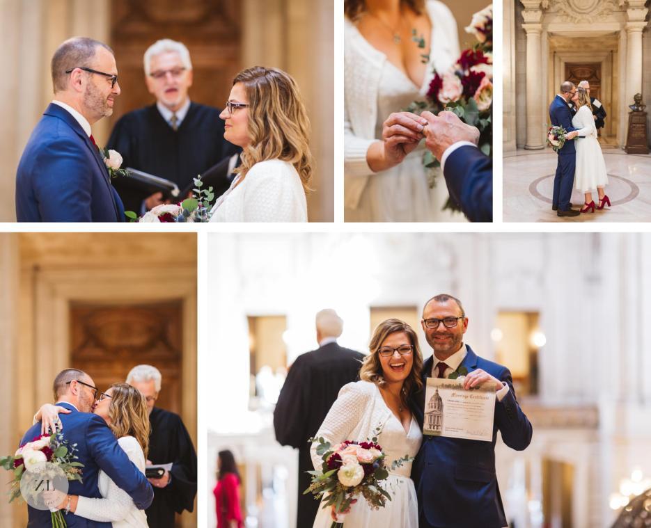 newlyweds after rotunda ceremony at San Francisco City Hall elopement