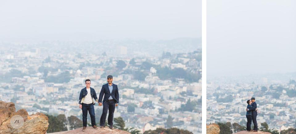 LGBTQ+ couple standing with view of san francisco behind them taken at corona heights