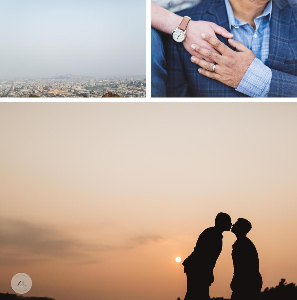 silhouette shot of queer married couple with hand details
