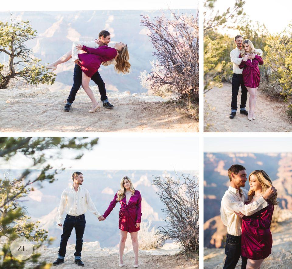 grand canyon engagement photos glamorous couple