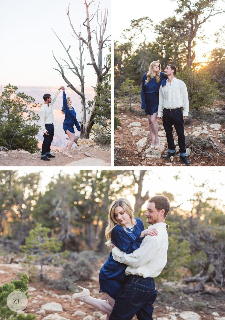 elegant couple engagement photos grand canyon national park