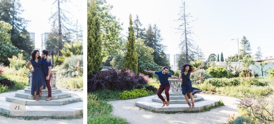 engaged couple jumping off fountain at gardens at lake merritt east bay