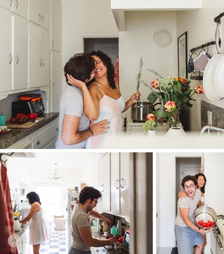 in home oakland engagement session in kitchen with LGBTQ couple