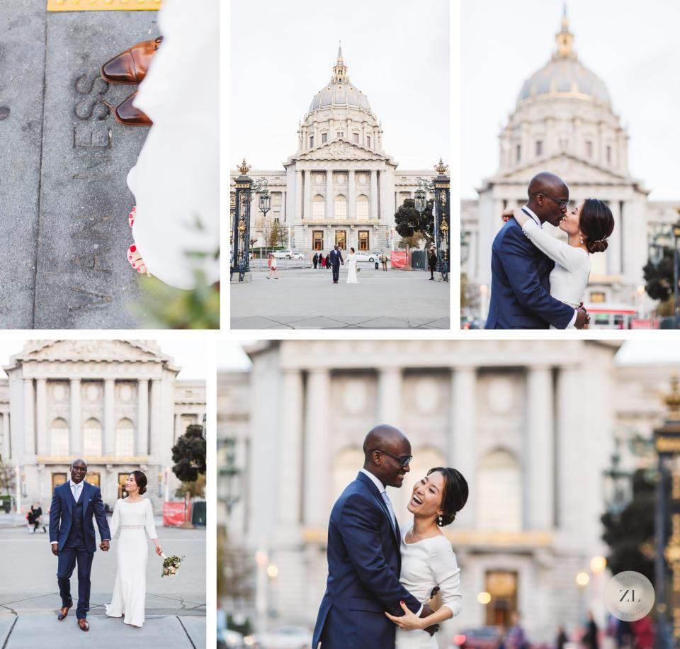 relaxed couple's post-wedding portraits on van ness back view of san francisco city hall