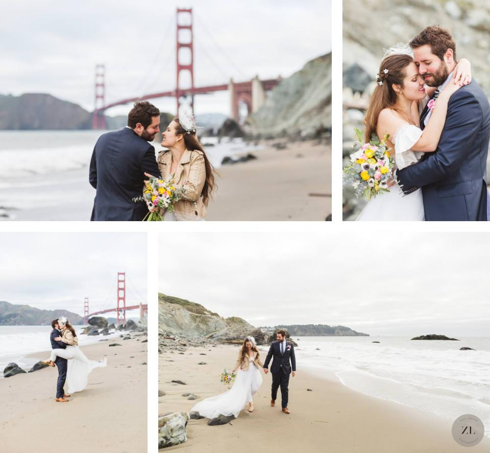 Gorgeous wedding  photos from a couple's san francisco elopement photography session in Marshall's Beach, San Francisco