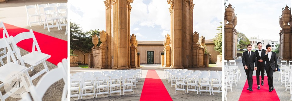 wide shot of palace of fine arts for wedding