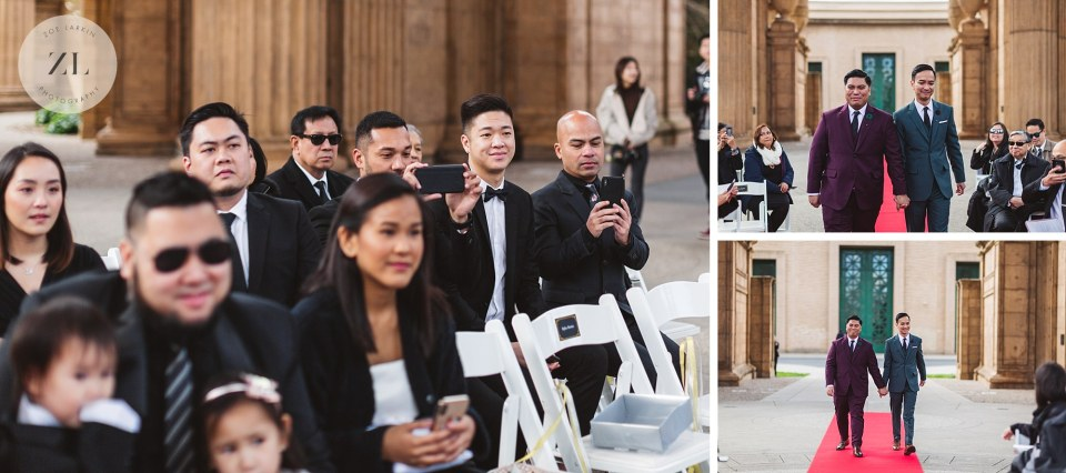 wedding ceremony collage at palace of fine arts theater san francisco