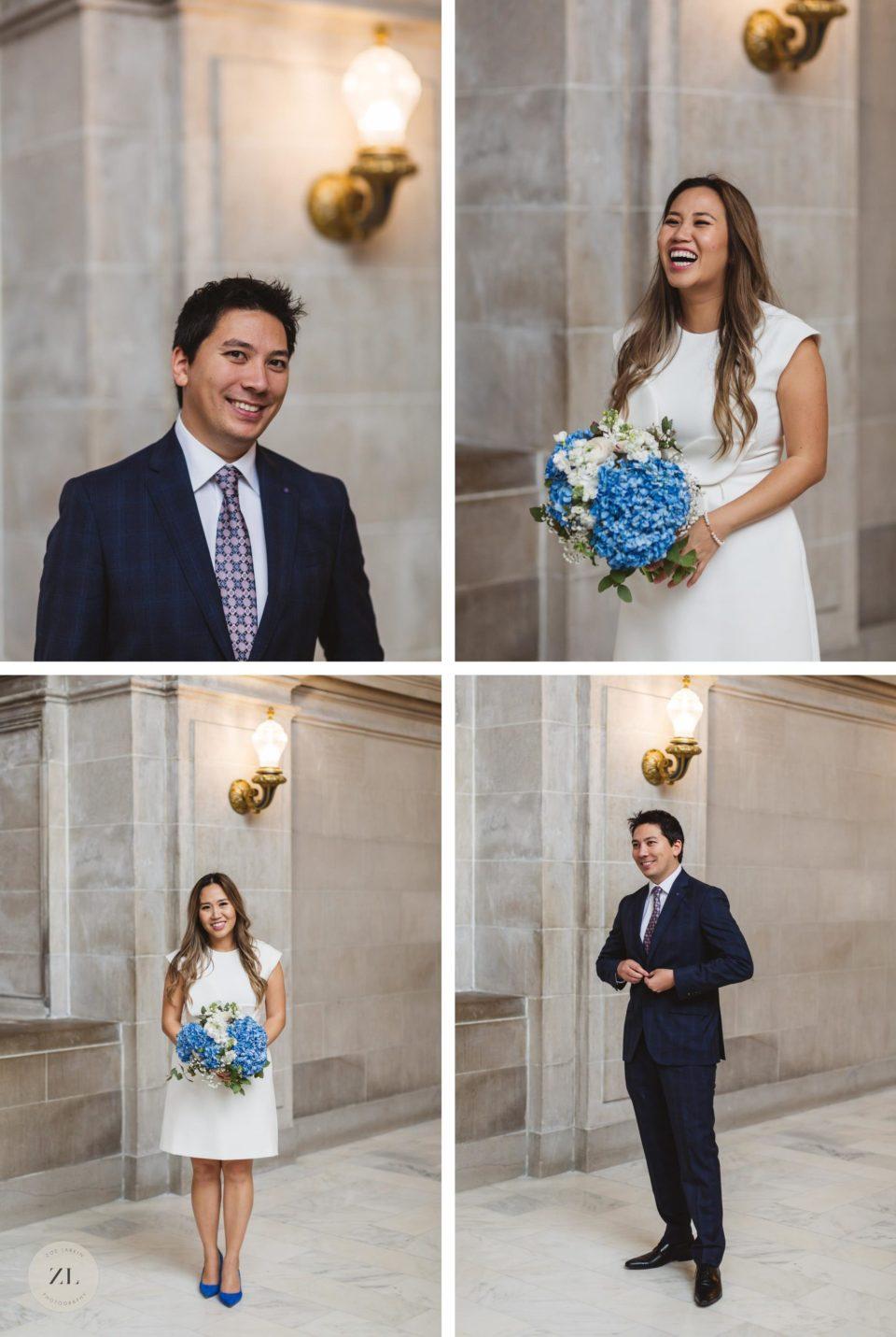 individual photos of bride and groom on 4th floor San Francisco City Hall wedding