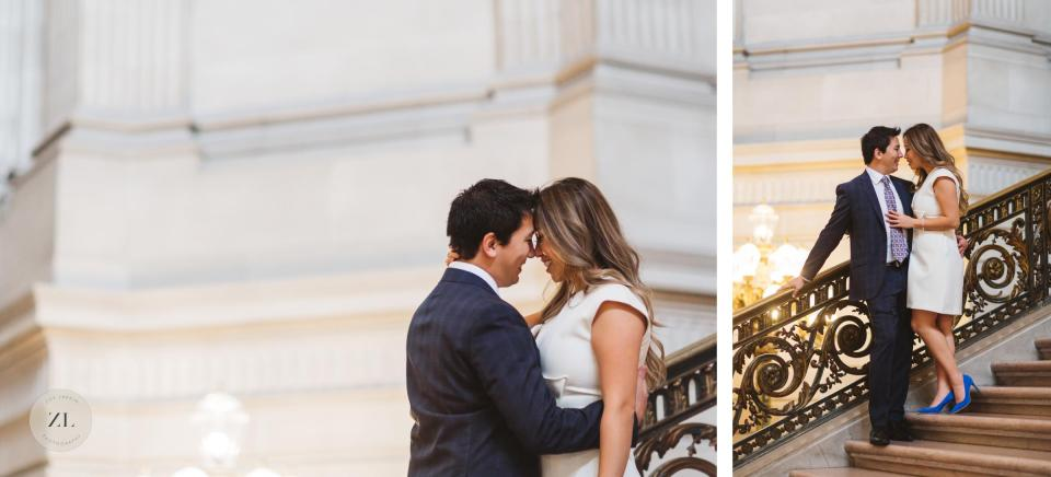 grand staircase San Francisco City Hall intimate wedding portrait