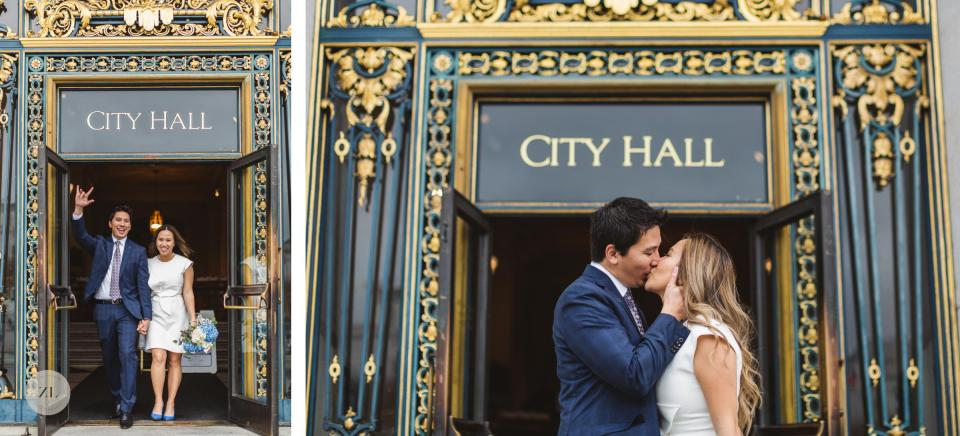 newlywed portraits on the steps of city hall outside iconic doorway