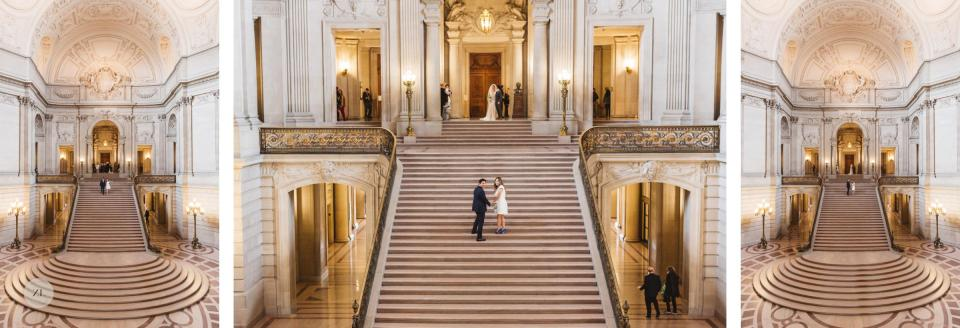 grand staircase epic photos San Francisco City Hall wedding