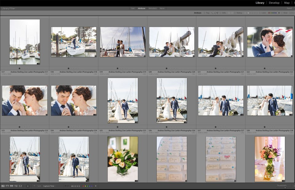 showing workflow for wedding photographers using lightroom