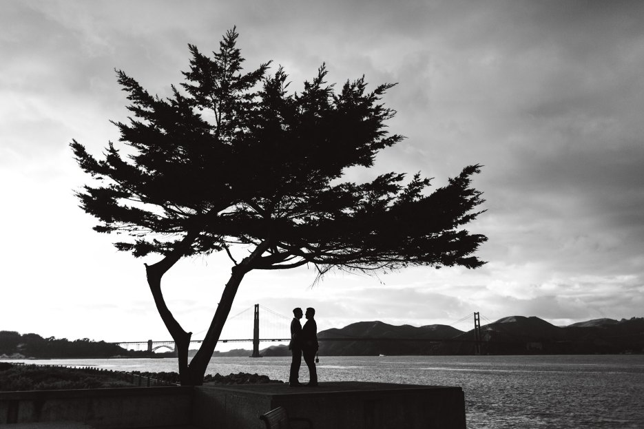 dramatic wedding photography with huge tree and tiny LGBTQ+ couple in black and white