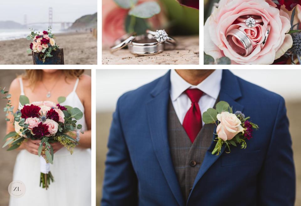 close up wedding details at baker beach elopement