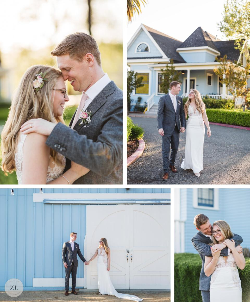 intimate wedding couple portraits outside blue victorian at vezer california