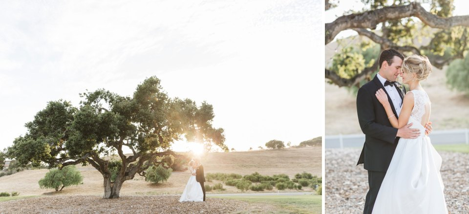 couple embracing under tree at their monterey california wedding to show how lighting affects finished wedding images