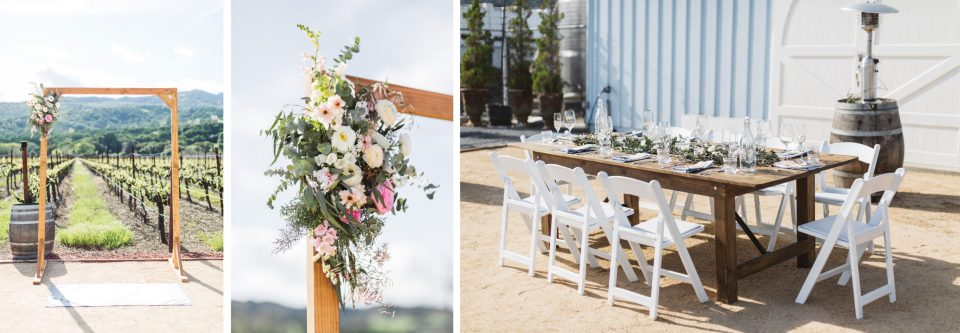 details from winery wedding including ceremony arch and outdoor reception table