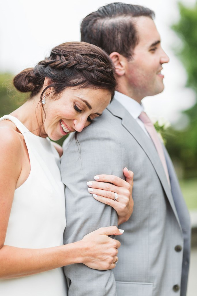 couple embracing at oakland ca wedding