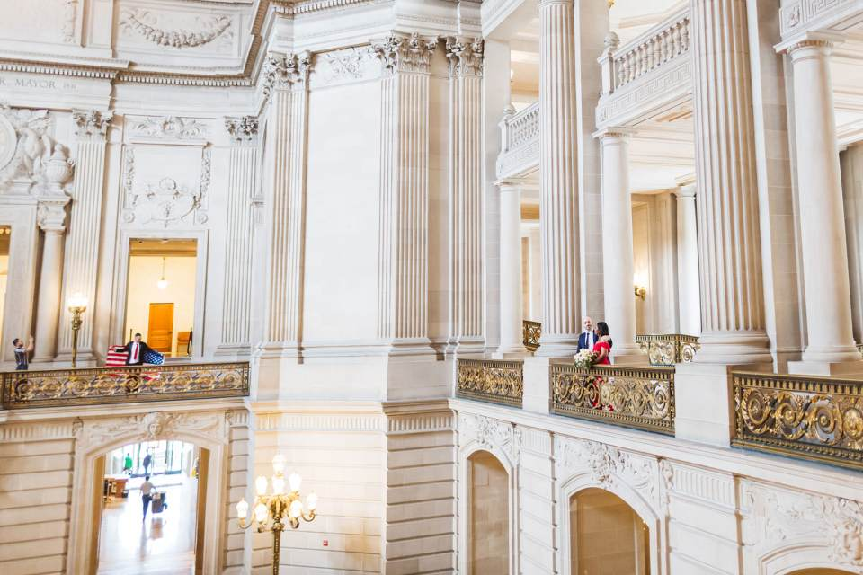 epic view of san francisco city hall wedding couple