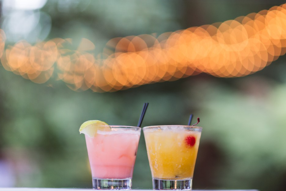 wedding cocktails with lights in background