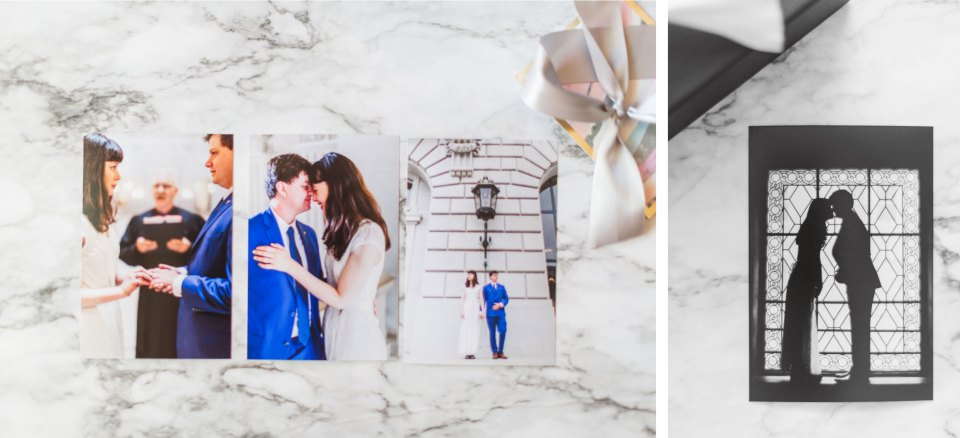 showing wedding photography printed photos styled on marble