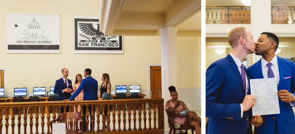 candid wedding photo of couple in room 162 of san francisco city hall with guests