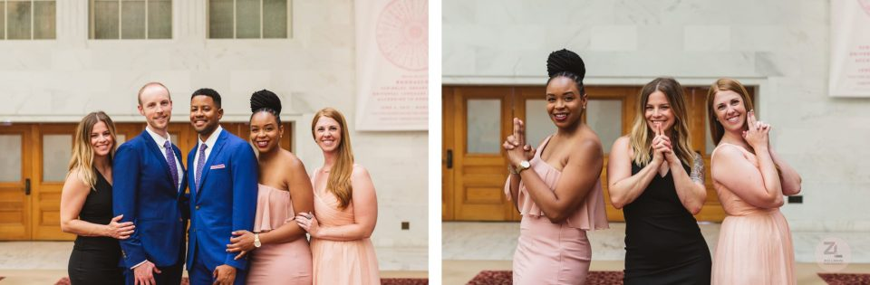 bridesmaids and wedding couple posing