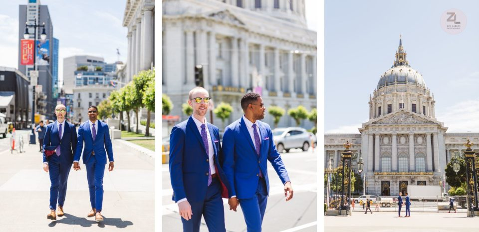 gay swirl san francisco city hall wedding couple crossing Van Ness