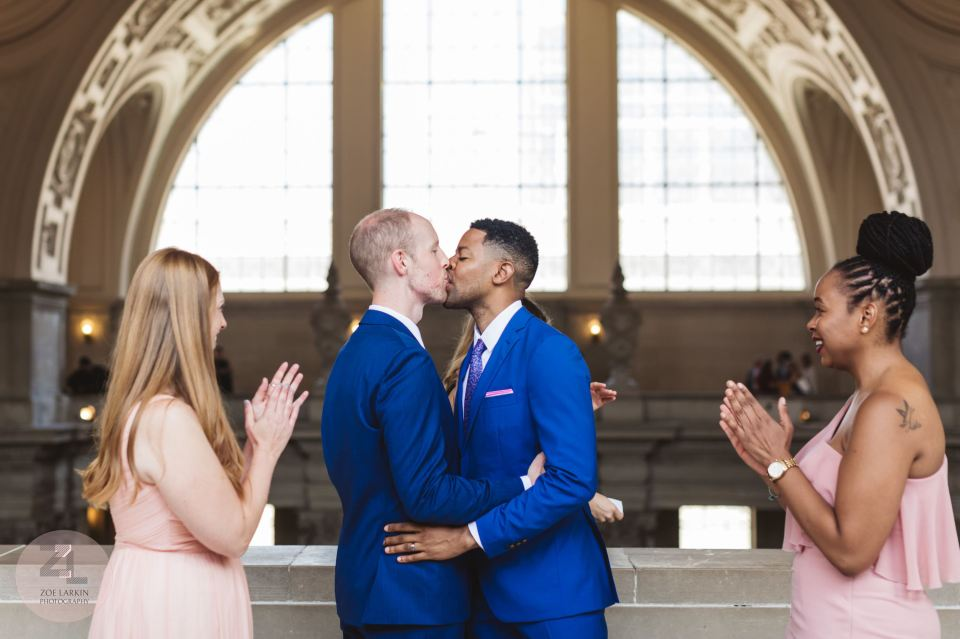first kiss at san francisco city hall 4th floor wedding ceremony