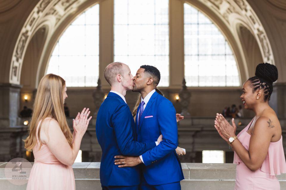 first kiss at san francisco city hall 4th floor wedding ceremony
